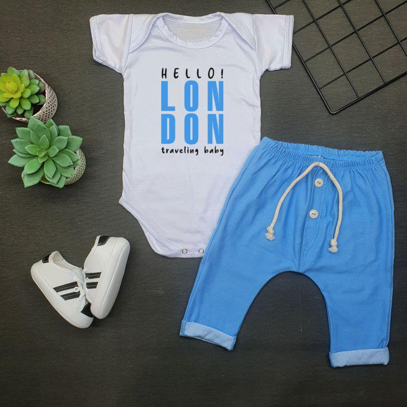 Conjunto Bebê 3 Peças Body Calça Tênis London
