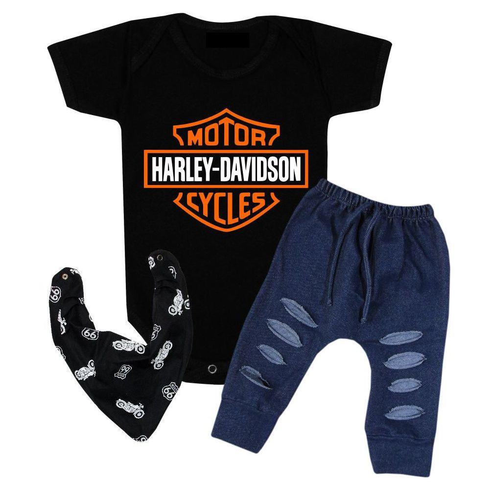 Conjunto Bebê 3 Peças Body Calça Tênis Menino Harley