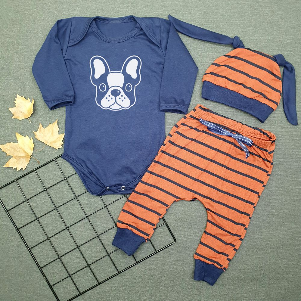 Conjunto Bebê 3 Peças Body Calça Touca Bulldog Francês