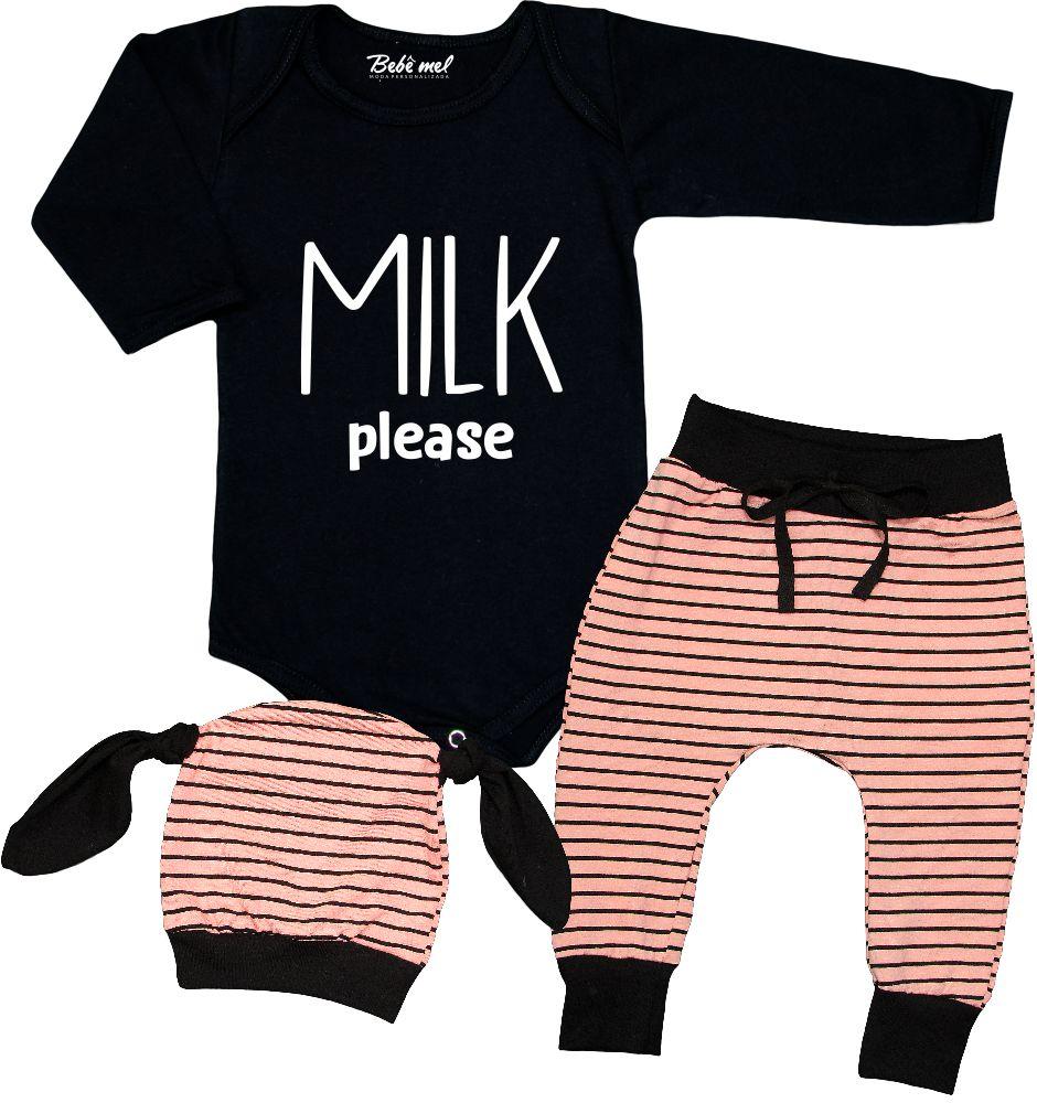 Conjunto Bebê 3 Peças Body Calça Touca Milk Longo