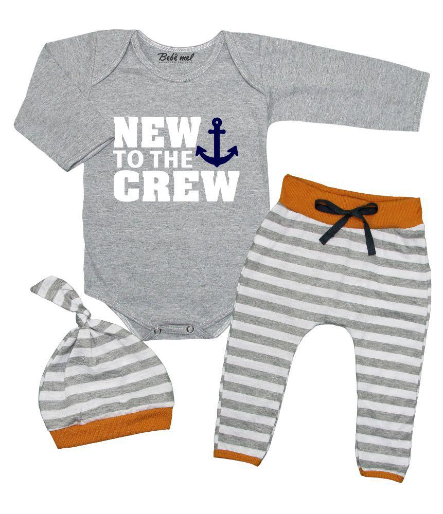 Conjunto Bebê 3 Peças Body Calça Touca New to the Crew