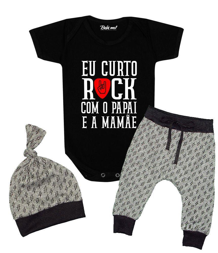 Conjunto Bebê 3 Peças Body Calça Touca Rock Pai e Mãe