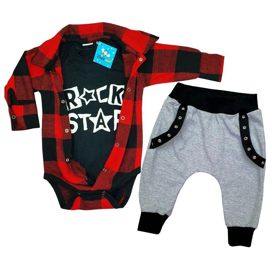 Conjunto Bebê Xadrez 3 Peças Rock Star