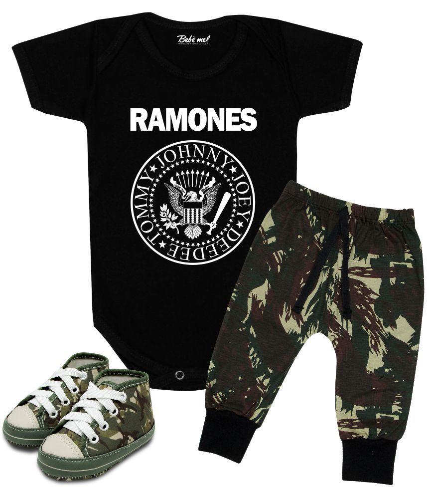 Conjunto Bebê Body Calça e Tênis Banda Ramones Rock