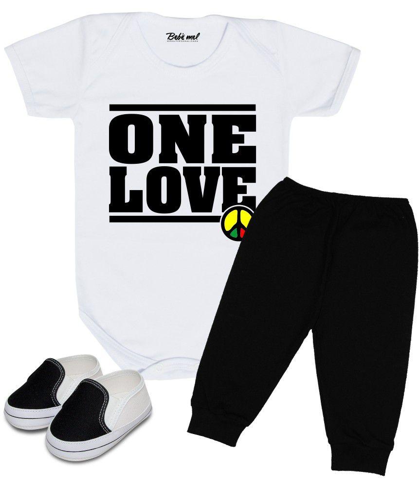 Conjunto Bebê Body Calça e Tênis Reggae One Love
