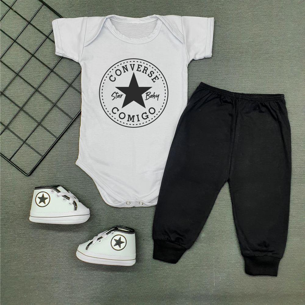 Conjunto Bebê Estiloso Star Baby Converse Comigo Branco