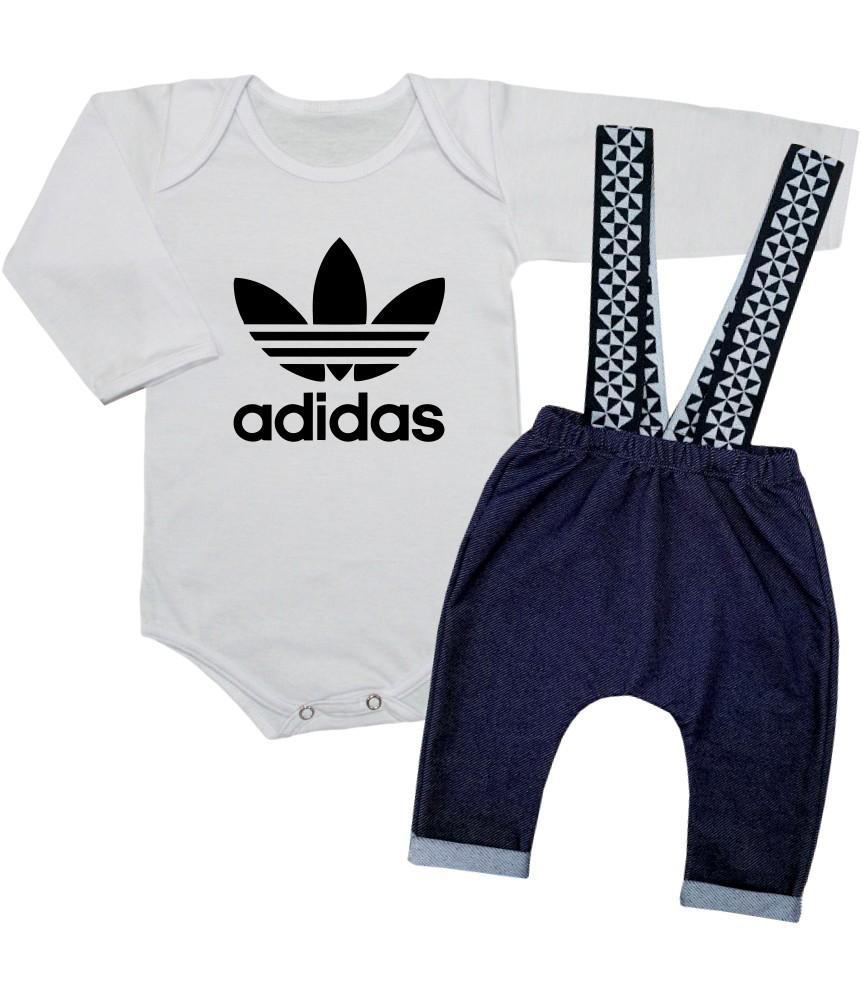 Conjunto Bebê Estiloso Body e Calça Suspensório