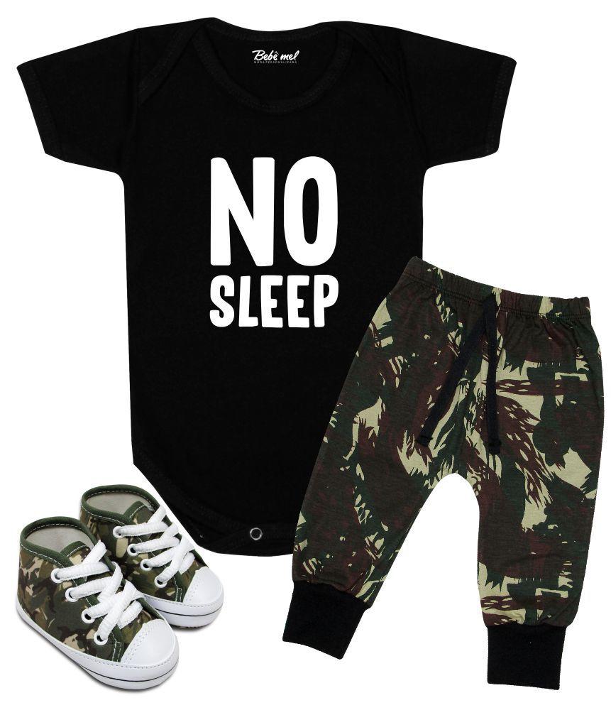 Conjunto Bebê Estiloso Camuflado No Sleep