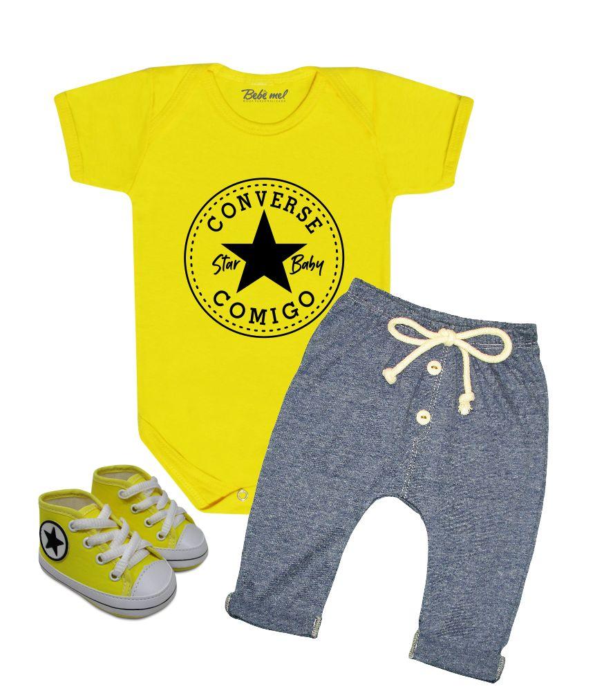 Conjunto Bebê Estiloso Star Baby Converse Comigo Amarelo