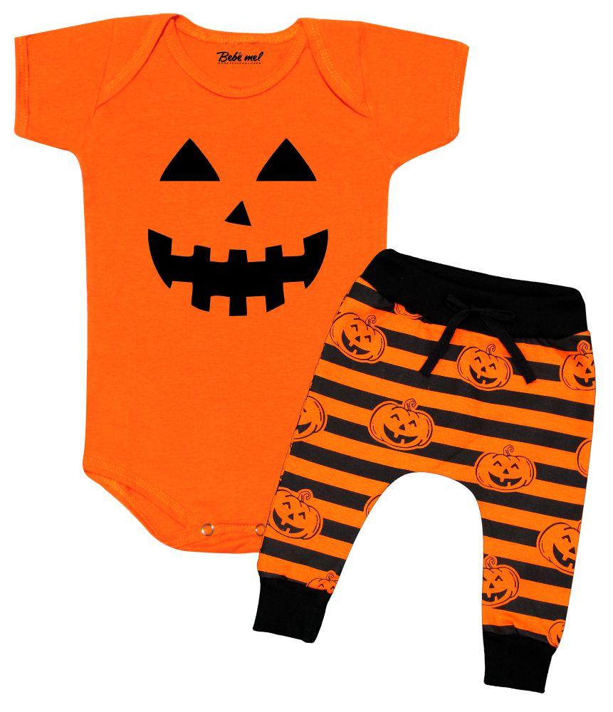 Conjunto Bebê Halloween Abóbora Divertida
