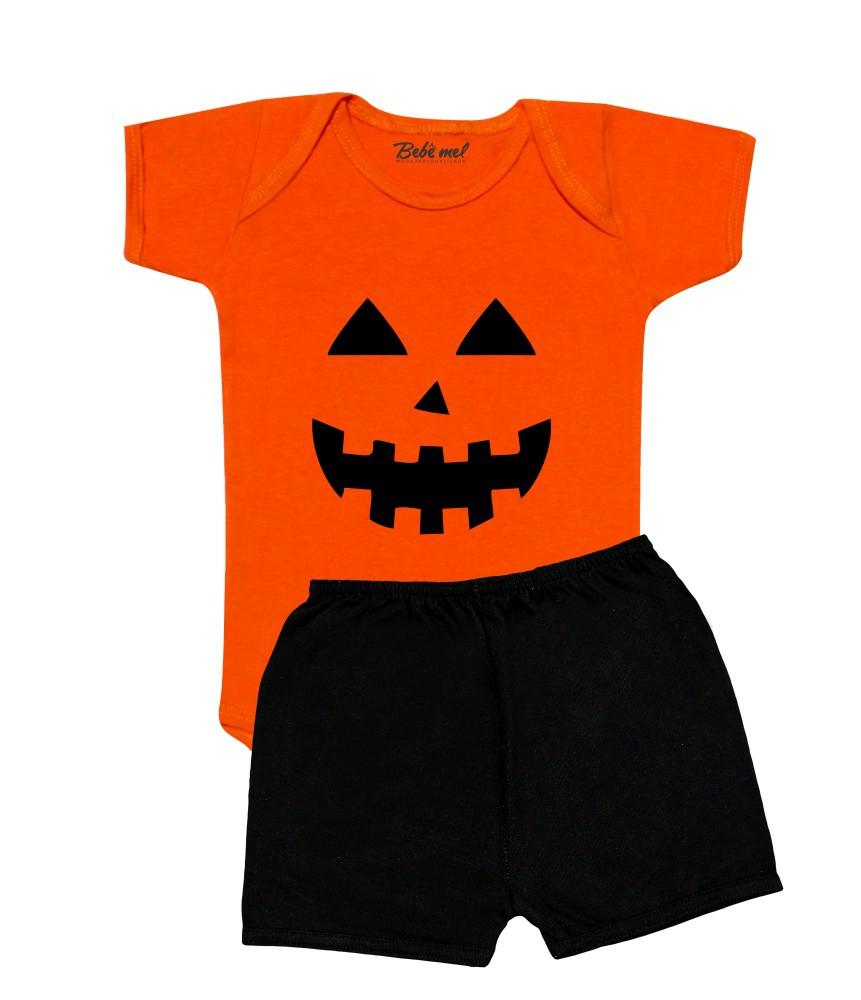 Conjunto Bebê Halloween Abóbora Shorts
