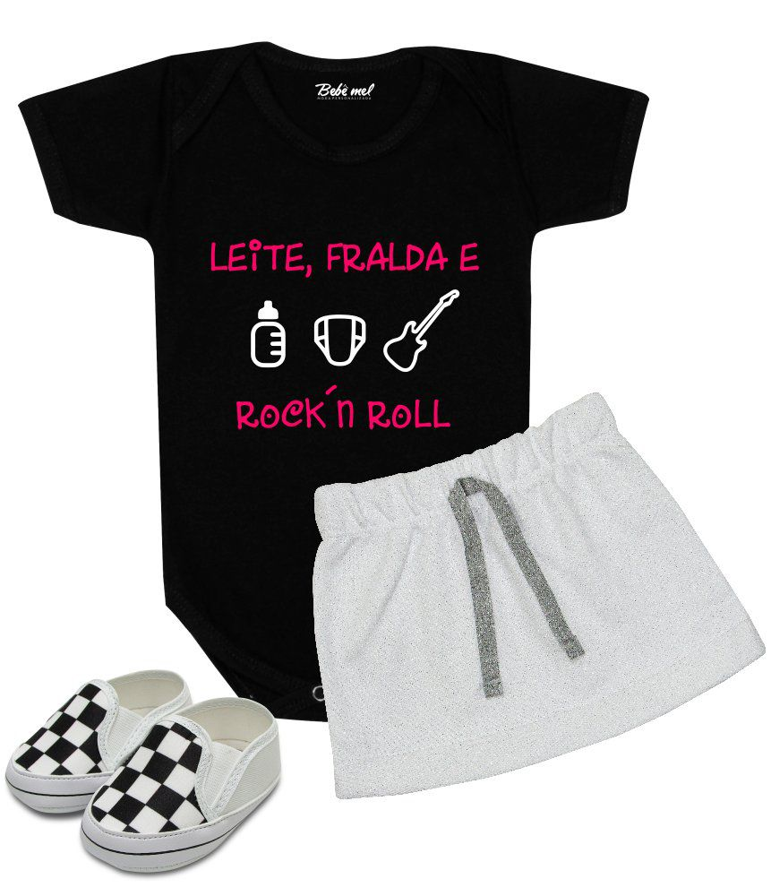 Conjunto Bebê Menina Leite Fralda e Rock´n Roll