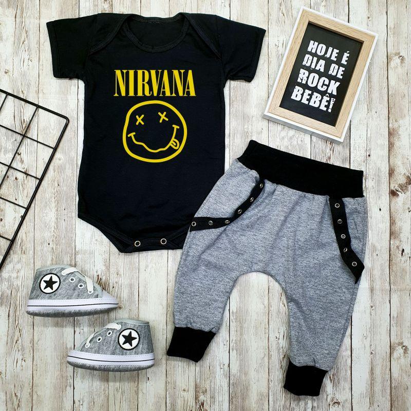 Conjunto Bebê Menino Estiloso Rock Banda Nirvana