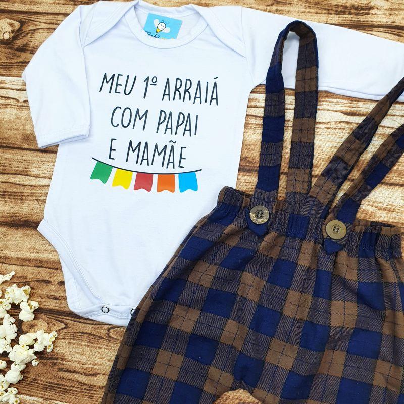 Conjunto Bebê Primeiro Arraiá com Papai e Mamãe Festa Junina