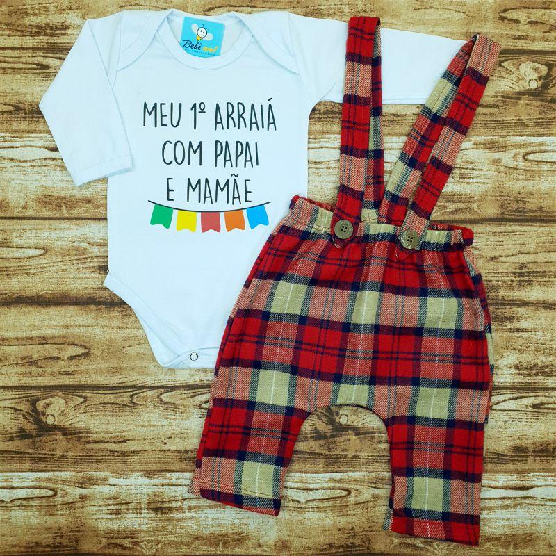 Roupa Bebê Primeiro Arraiá com Papai e Mamãe Festa Junina