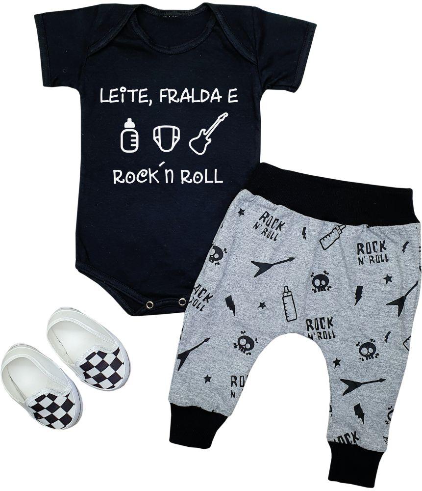 Conjunto de Rock Bebê Leite Fralda e Rock´n Roll
