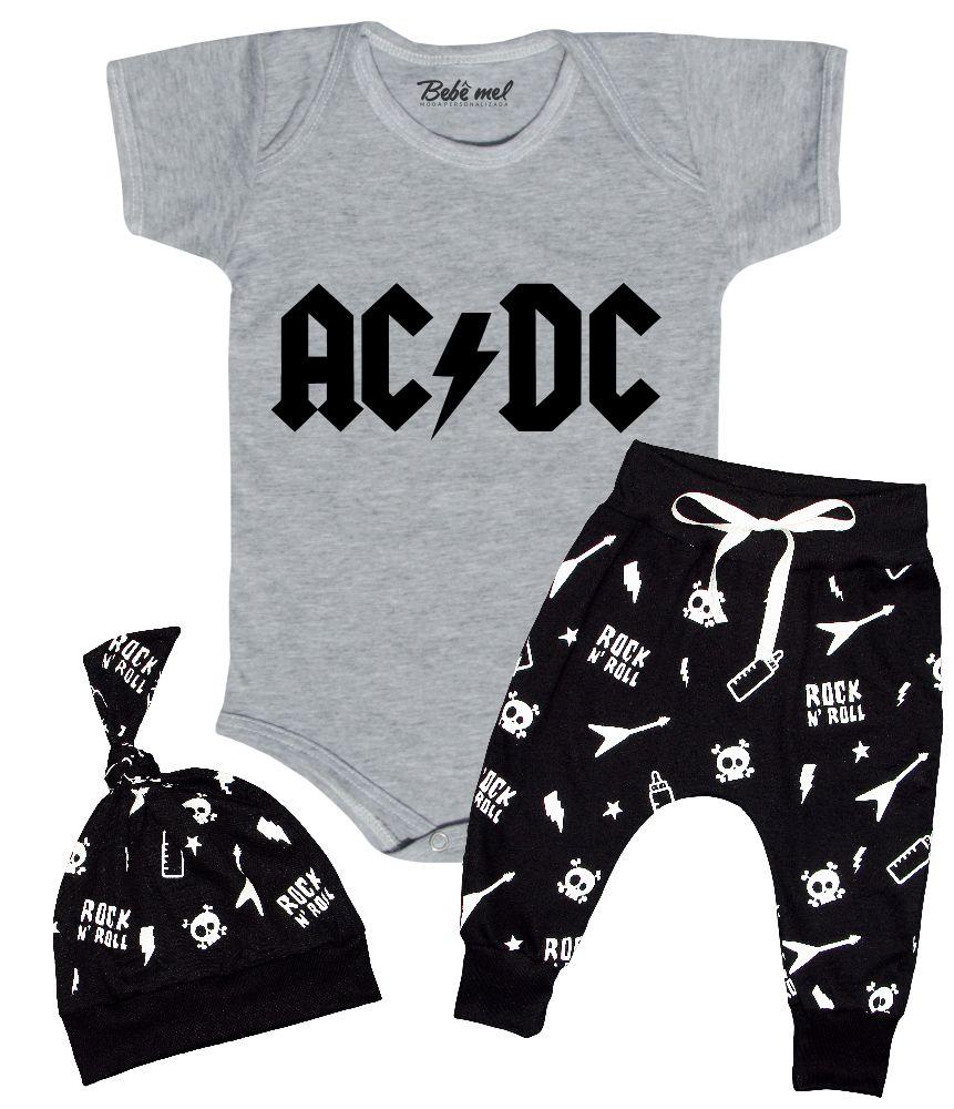 Conjunto de Rock Bebê Roupa Estilosa ACDC