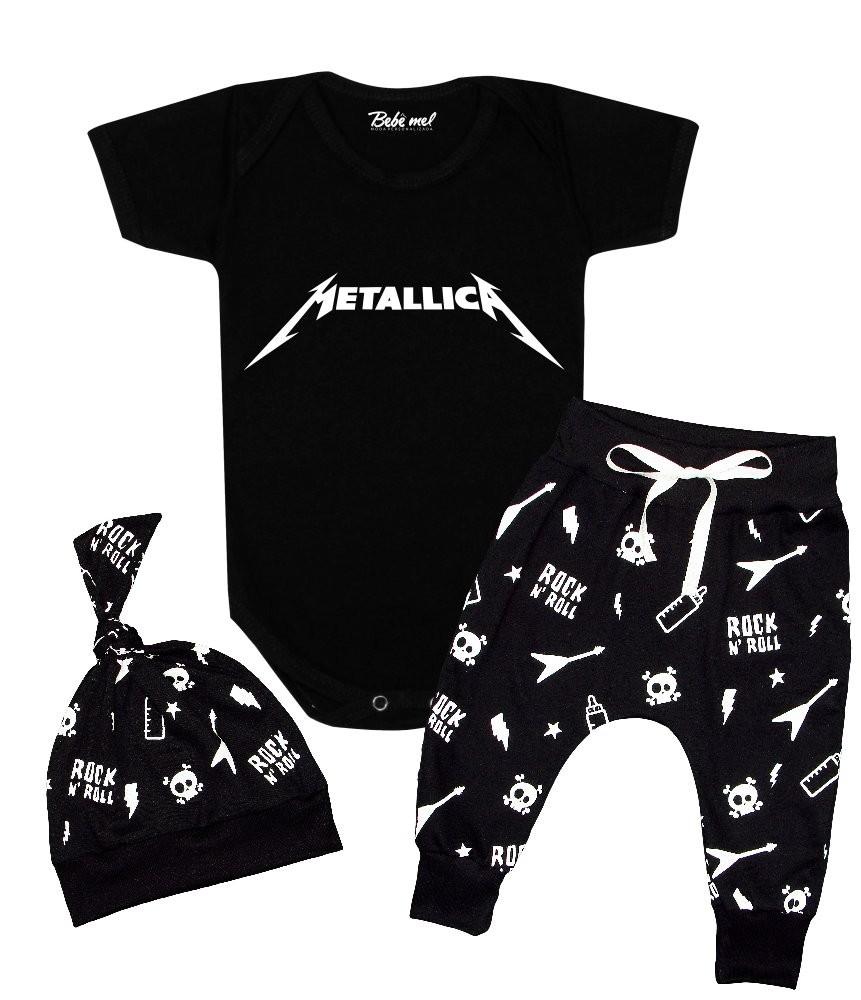 Conjunto de Rock Bebê Roupa Estilosa Metallica