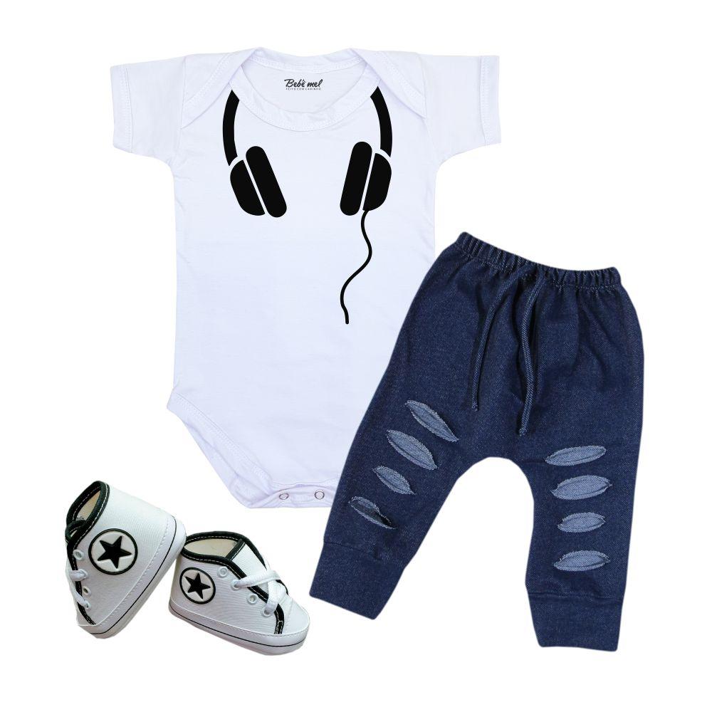 Conjunto Estiloso Moda Bebê Menino Fone de Ouvido