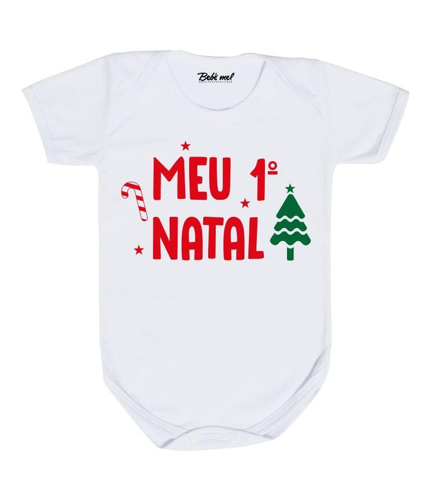 Conjunto Meu Primeiro Natal com Shorts Suspensório + Gorro e Tênis