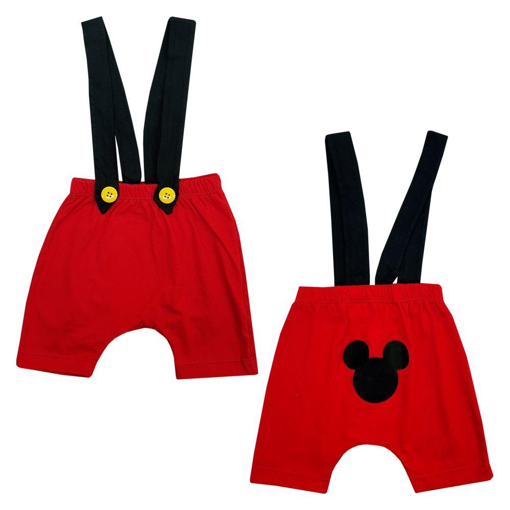 Conjunto Mickey com Shorts Suspensório Gravatinha