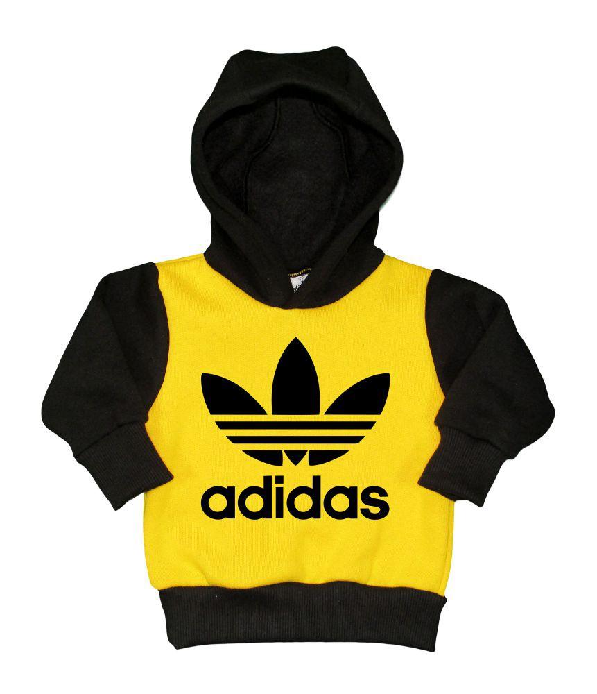 Conjunto Moletom Preto e Amarelo Adidas