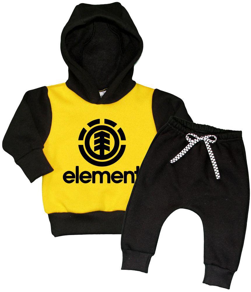 Conjunto Moletom Preto e Amarelo Element