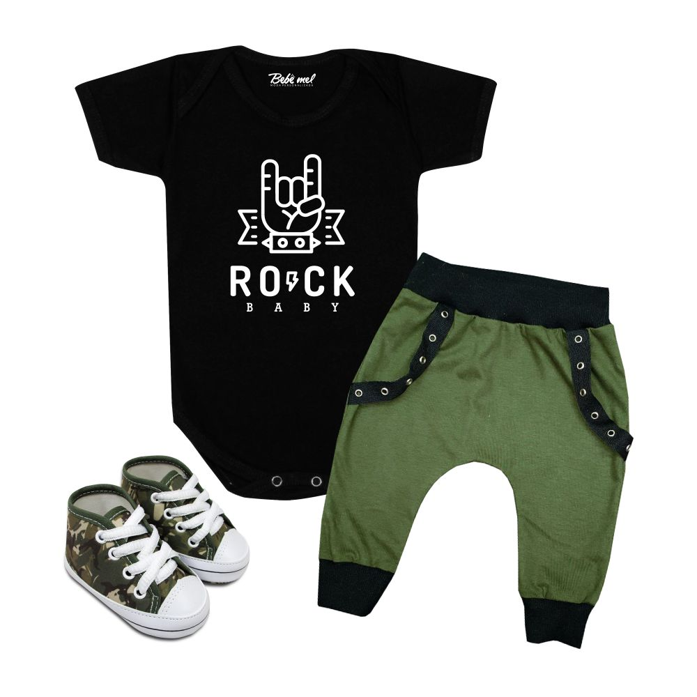 Conjunto Roupa Bebê Estiloso Rock