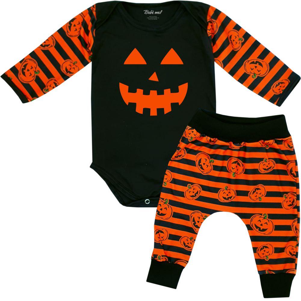 Conjunto Roupa Bebê Halloween Abóbora Divertida