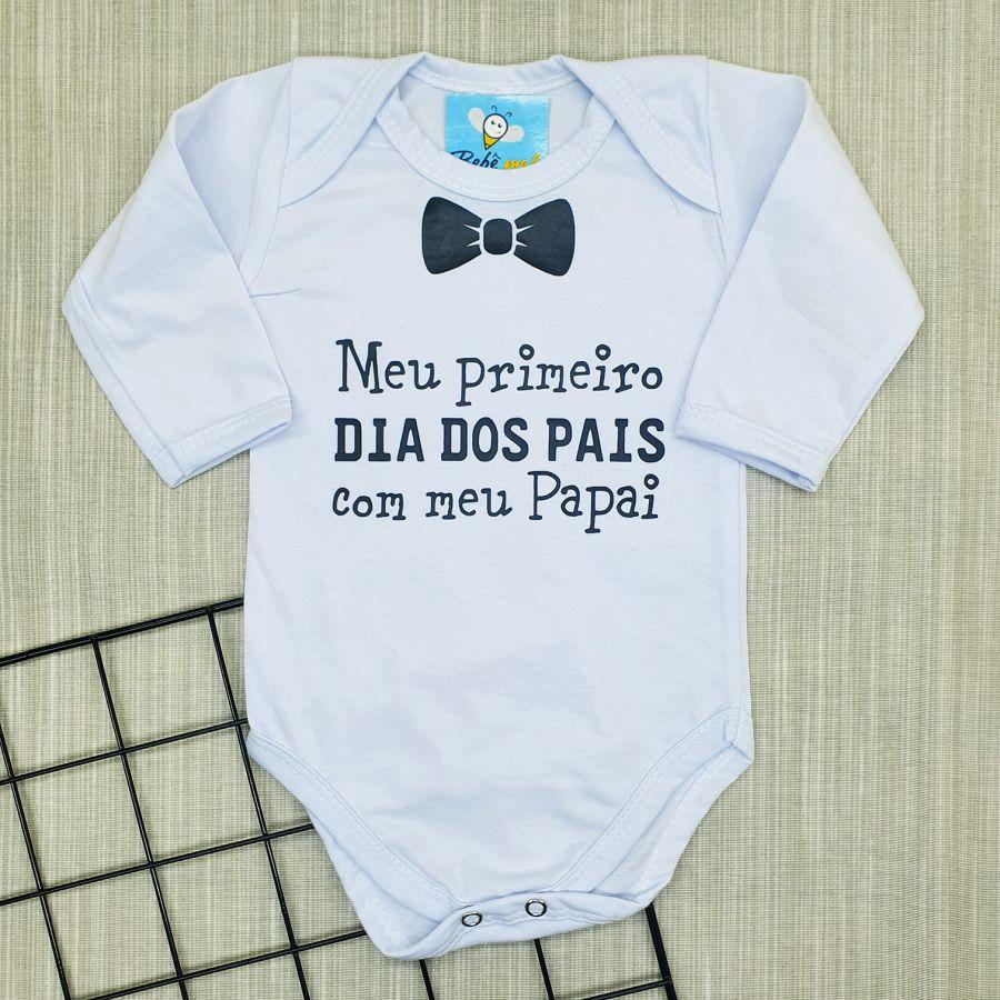 Conjunto 2 Peças Roupa Bebê Meu Primeiro Dia dos Pais com Meu Papai