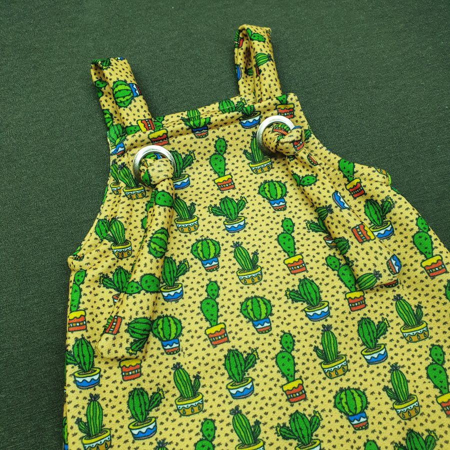 Jardineira Para bebê Macacão Estiloso Moletom Cactos