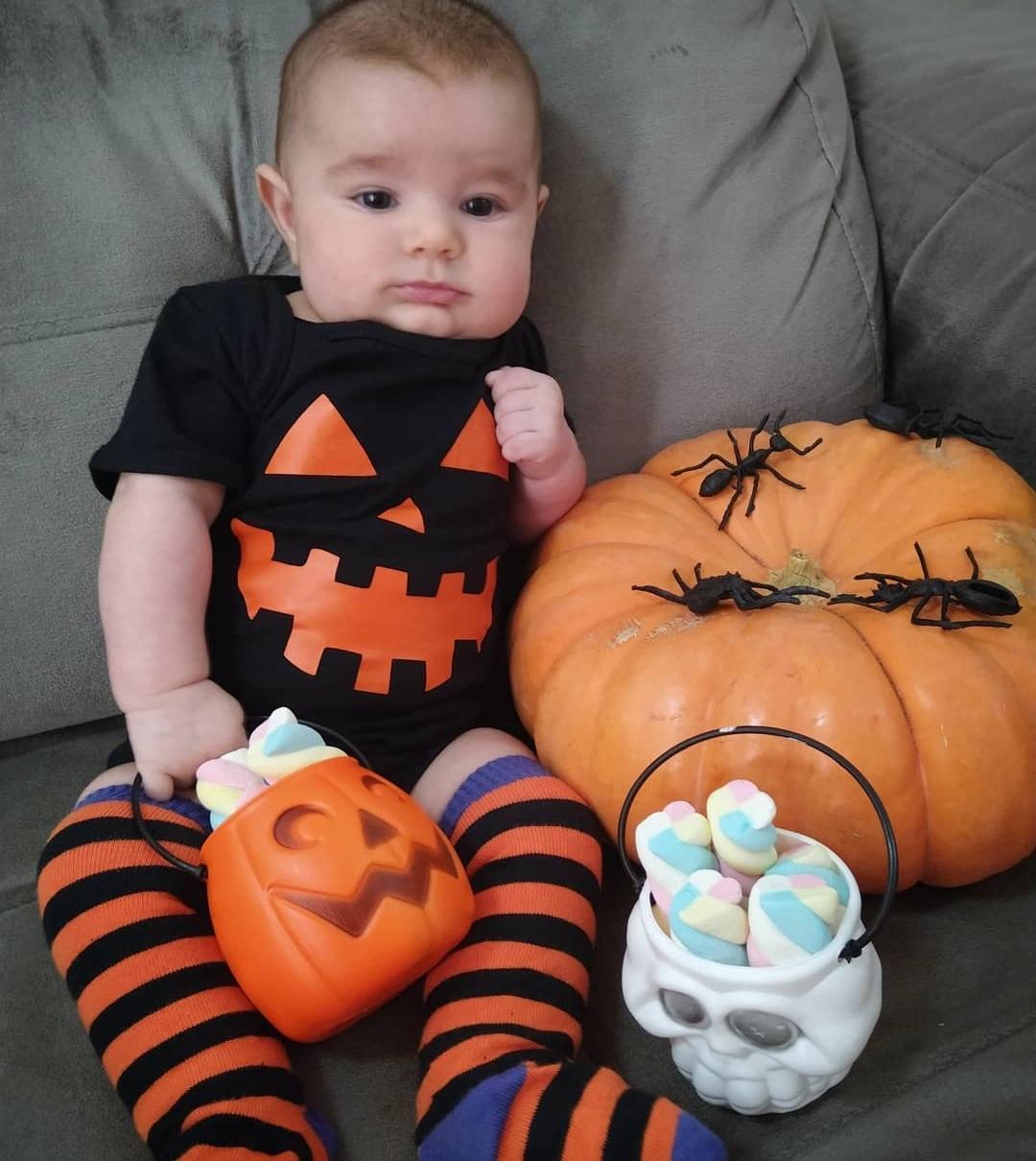 Kit Halloween Body Abóbora Preto + Meia Listrada