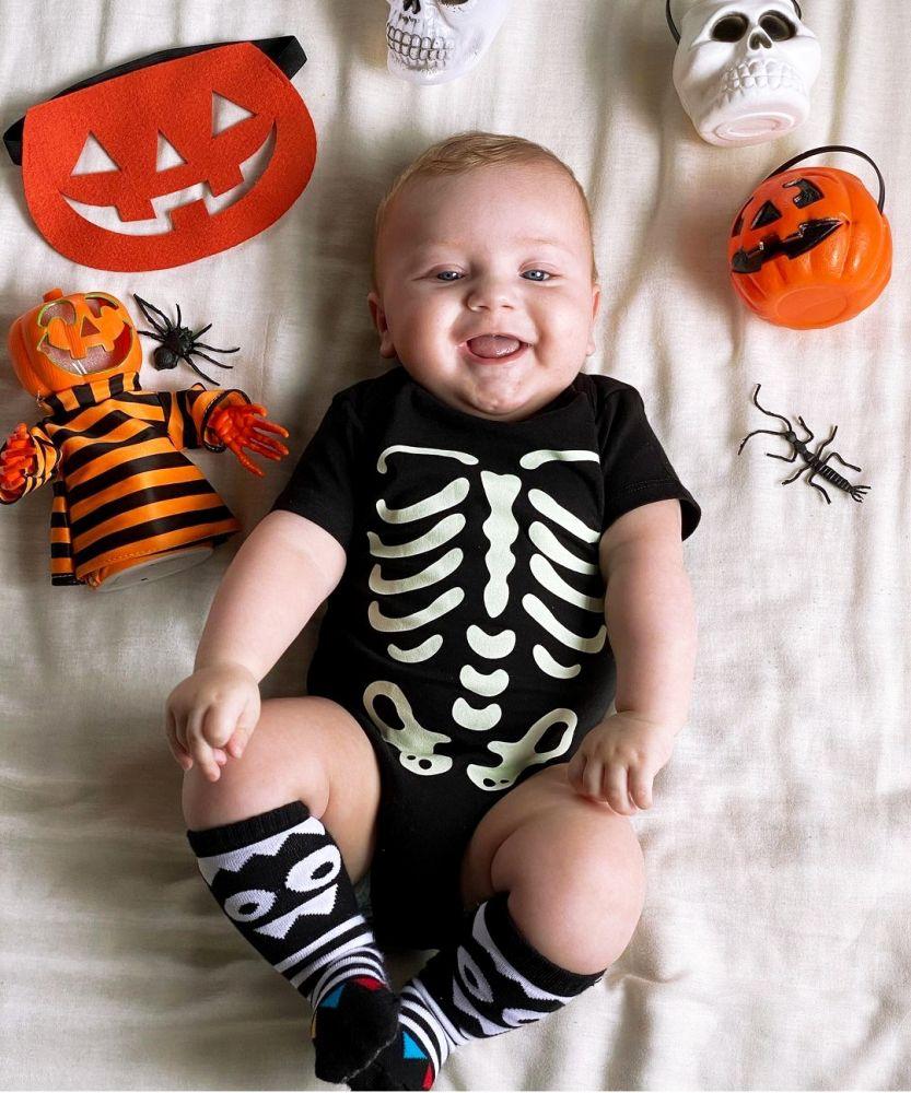 Kit Halloween Body Esqueleto + Meia Monstrinho