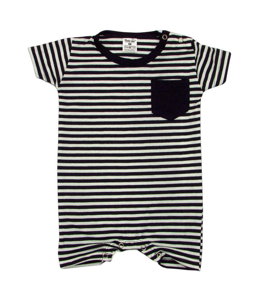Macacão Bebê Curto Listras Preto e branco