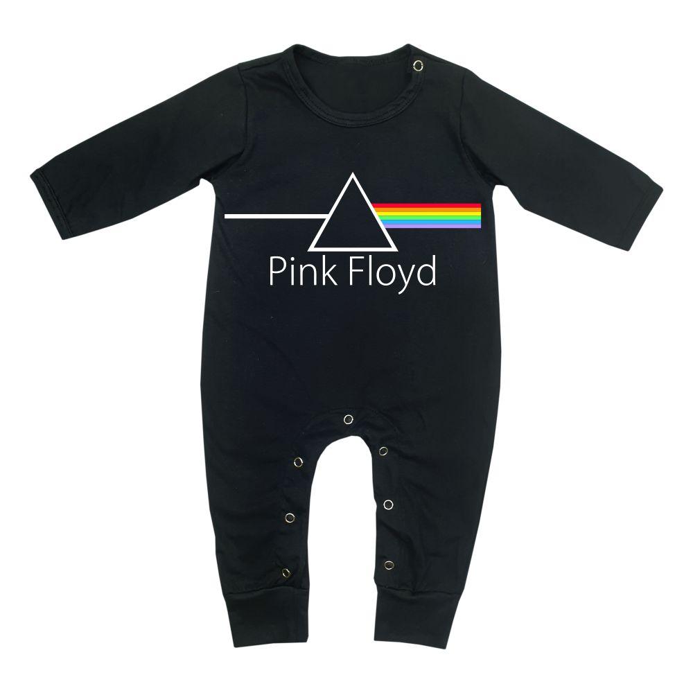 Macacão Bebê Longo em Malha Preto Rock Pink Floyd