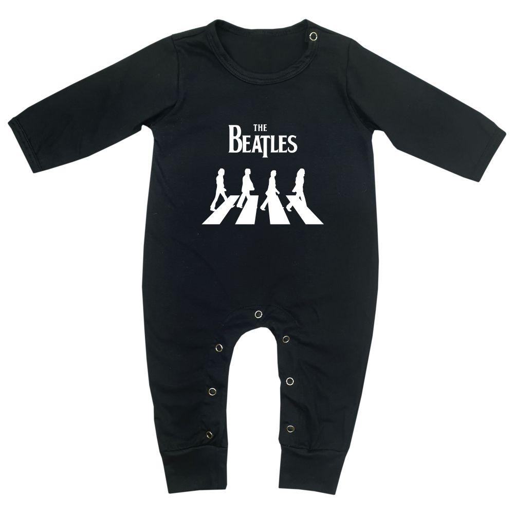 Macacão Bebê Longo em Malha Preto Rock The Beatles