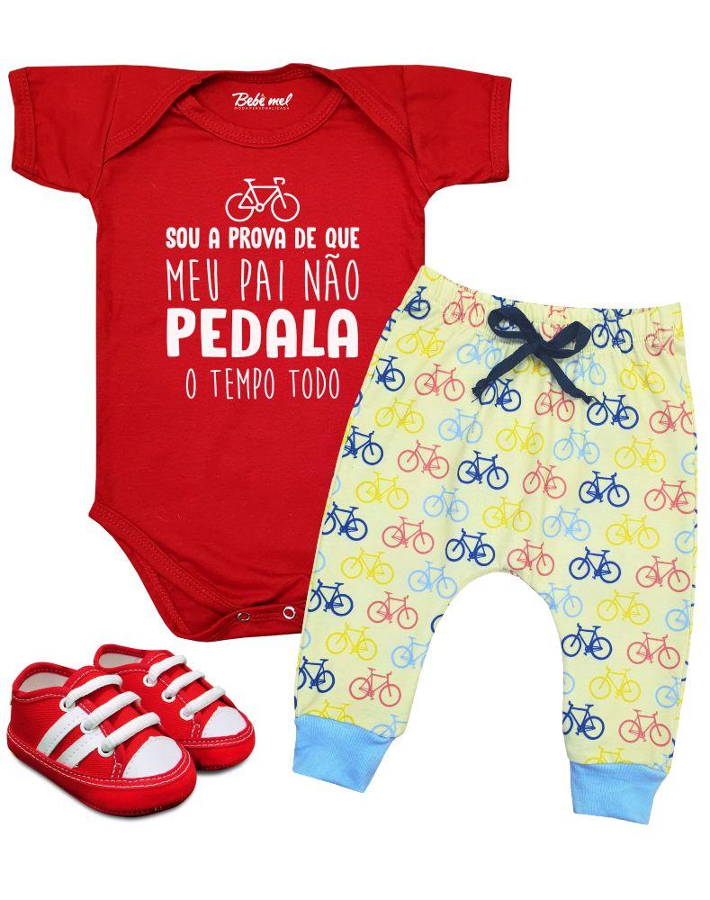 Roupa Bebê Body e Calça Bicicleta Papai