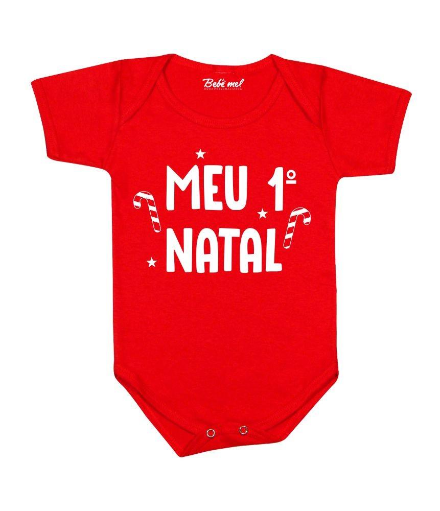 Roupa Bebê Body Meu 1º Natal Vermelho