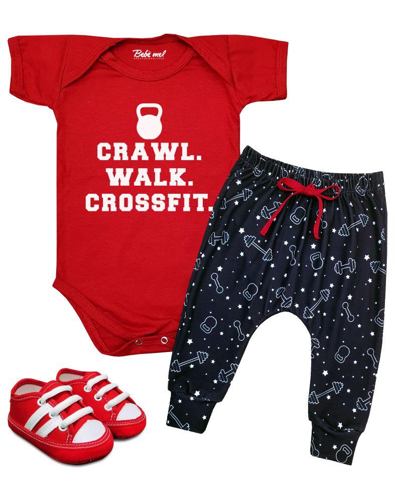 Roupa Bebê Curto Crossfit com 3 peças