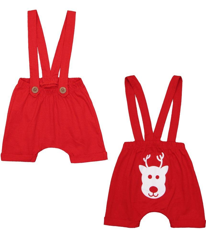 Shorts Saruel com Suspensório Vermelho Natal