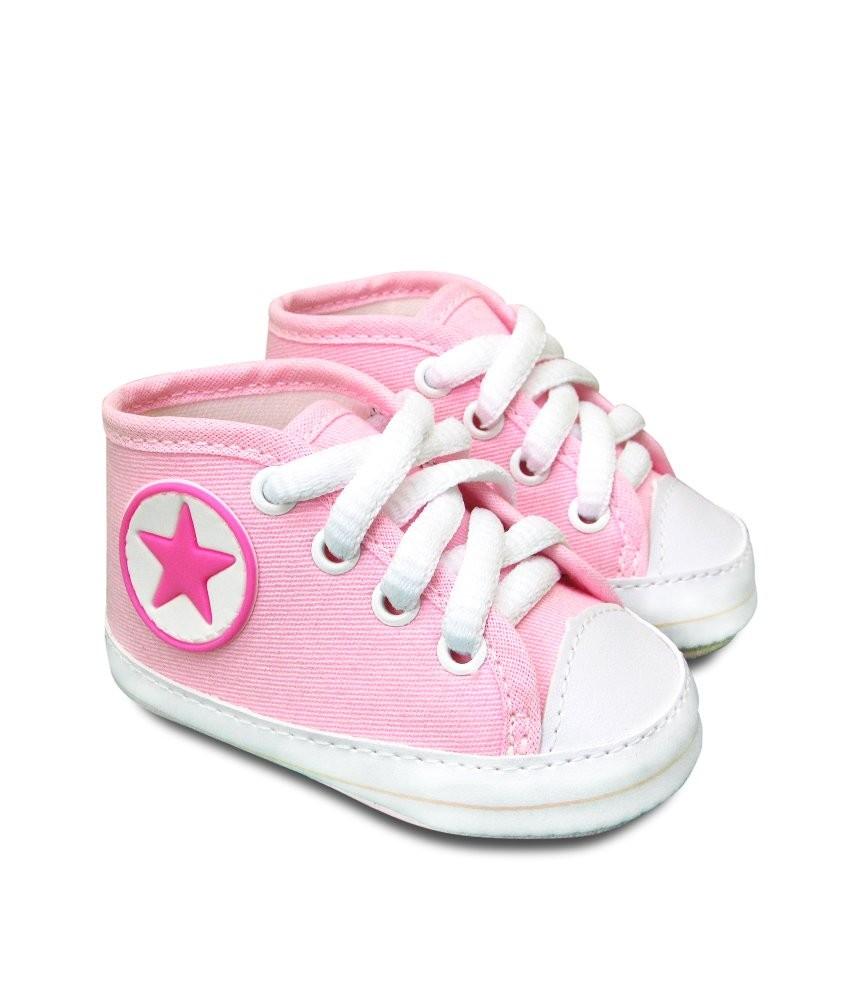 Tênis Bebê Estilo All Star Sapatinho Cano Alto Rosa