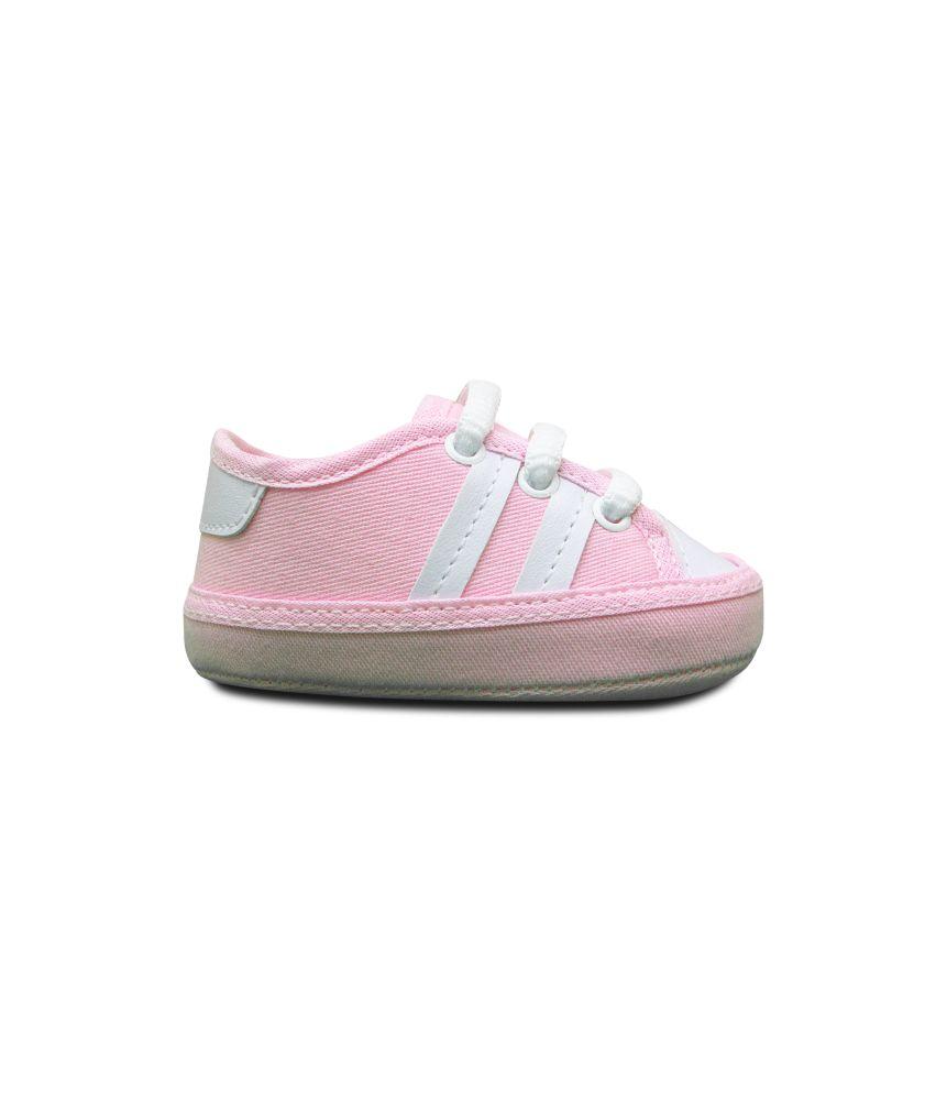 Tênis Bebê rosa listras brancas Sapatinho Estiloso