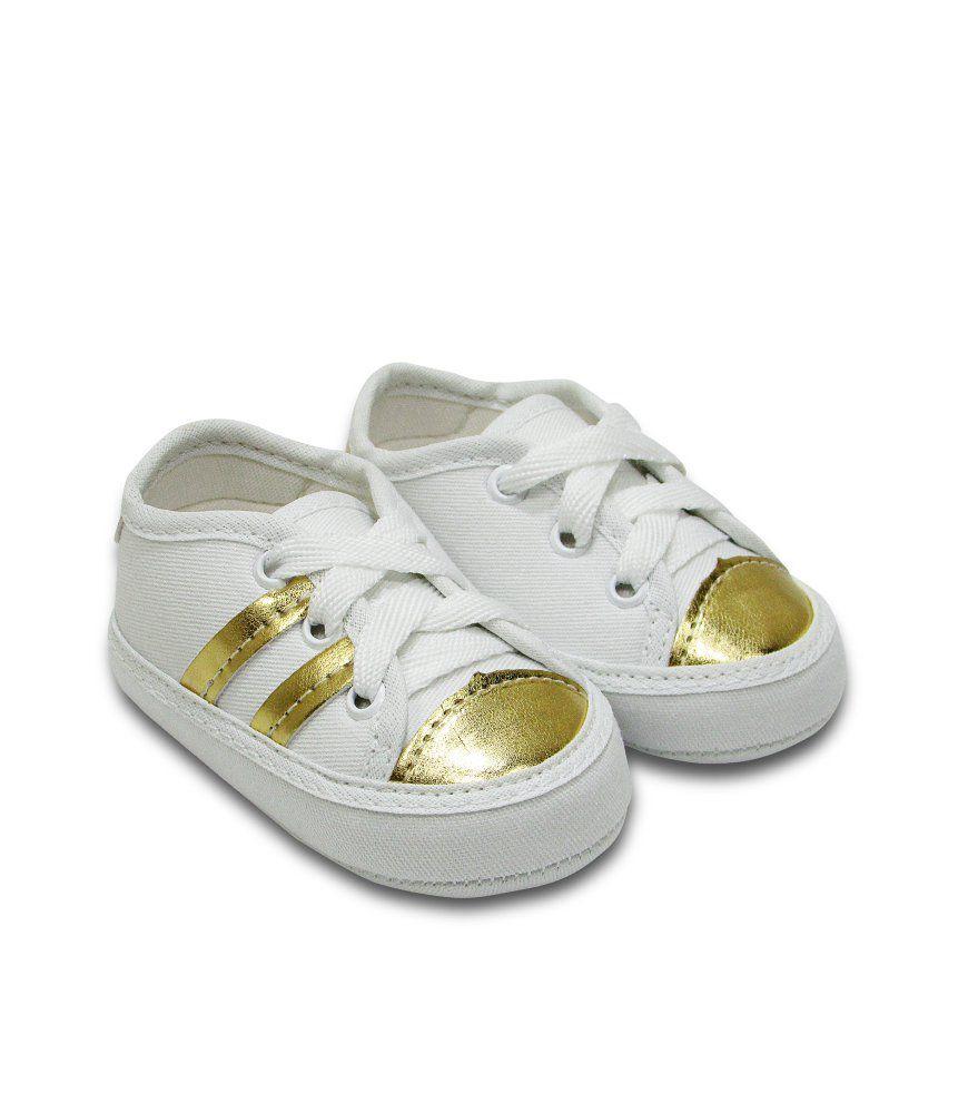Tênis Bebê Sapatinho Branco com Dourado