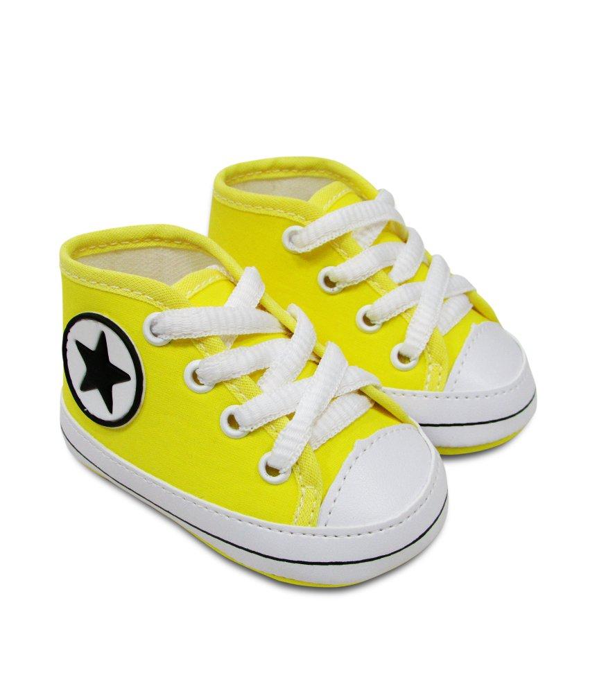 Tênis Bebê Sapatinho Estiloso cano alto amarelo