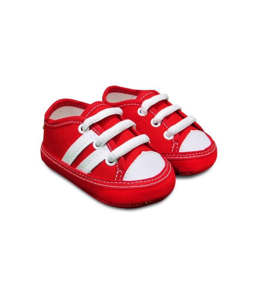 Tênis Bebê vermelho listras brancas Sapatinho Estiloso
