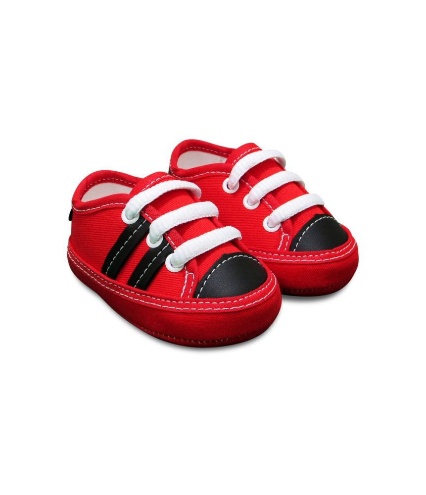 Tênis Bebê vermelho listras pretas Sapatinho Estiloso