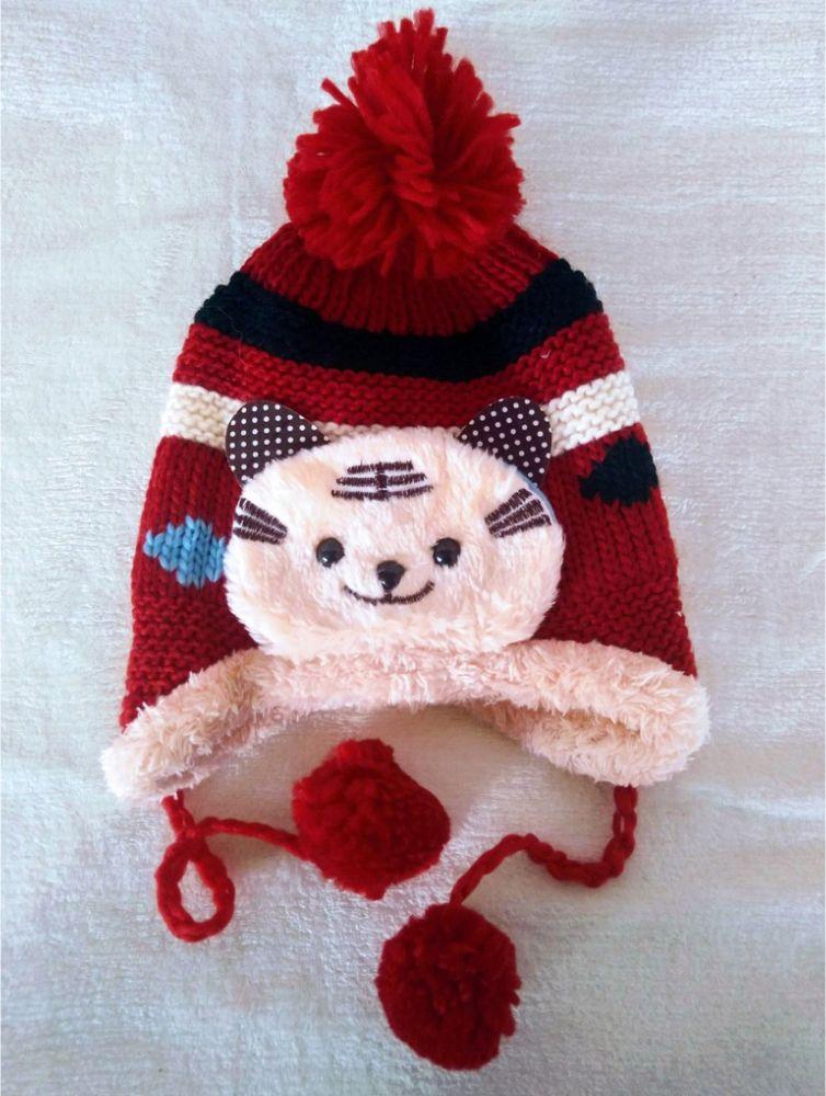 Touca Para Bebê Inverno Gato Pompom