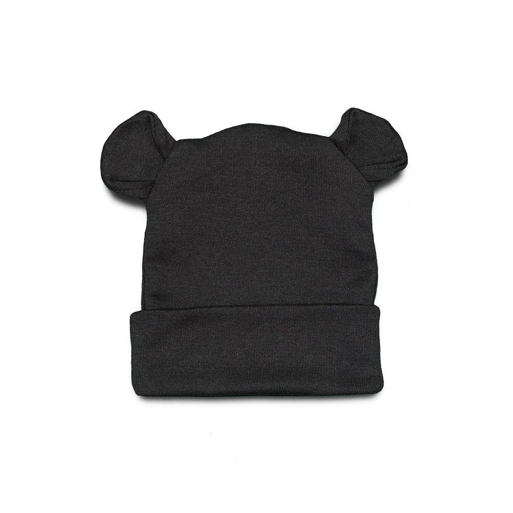 Touca Para Bebê Orelhinhas Urso Cinza Chumbo