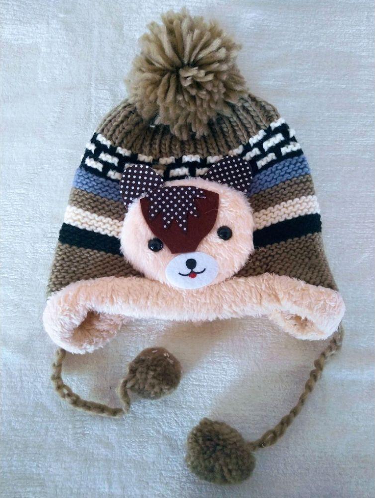 Touca Para Bebê Urso Pompom Inverno