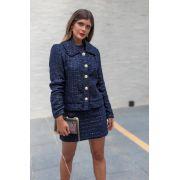 Casaco de Tweed Azul Marinho